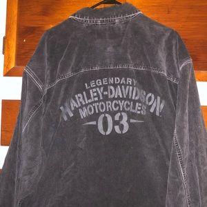 men's harley davidson corduroy button-up